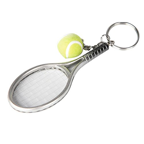 BleuMoo 1Pcs Mini Metal Tennis Racket Handmade Key Chain Sports Bike Car Key Chain Novelty Gift Souvenir (silver)
