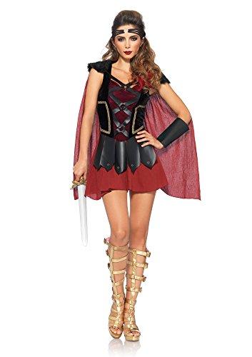 Leg Avenue Women's 4 Piece Trojan Warrior Costume, Black/Burgundy, -