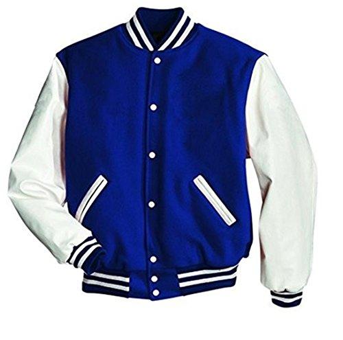 Original Windhound College Jacke blau mit weißen Echtleder Ärmel XL