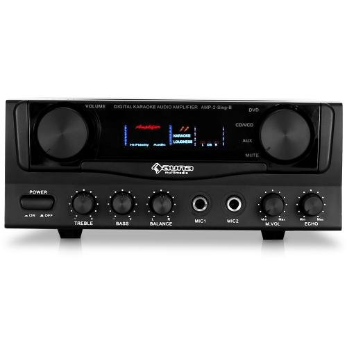 auna AMP-2 Amplificateur Karaoke Hifi home cinéma super compact (400W, 2 entrées micro, canaux de sortie audio 2.0, égaliseur, effet echo, sélection de source) - noir AV1-AMP-2-Sing