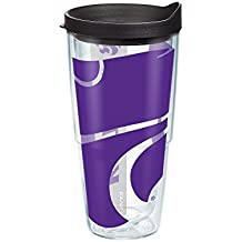 Tervis 1093229 Kansas State University Colossal Wrap Individual Tumbler with Black lid, 24 oz, Clear