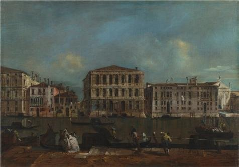 High Quality Polyster Canvas ,the Amazing Art Decorative Canvas Prints Of Oil Painting 'Francesco Guardi - Venice - The Grand Canal With Palazzo Pesaro,about 1755-60', 10x14 Inch / 25x36 Cm -