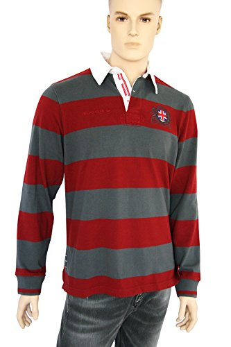 Grassington Rugby Shirt in Grey/Red
