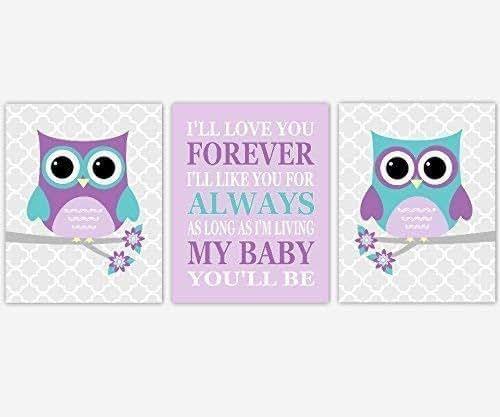 My Baby Girl S Nursery: Amazon.com: Girl Baby Nursery Wall Art Purple Teal