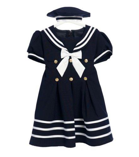 Apparel Sailor Blue - Classykidzshop Navy Girl Sailor Dress with White Strip 3T