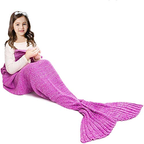 (JR.WHITE Mermaid Tail Blanket for Kids and Adults,Hand Crochet Snuggle Mermaid,All Seasons Seatail Sleeping Bag Blanket (Pastel Pink))
