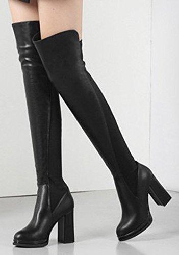 Aisun Womens Sexy Puntige Teen Elastische Jurk Dikke Hoge Hakken Slip-on Over De Knie Hoge Hoge Laarzen Schoenen Zwart