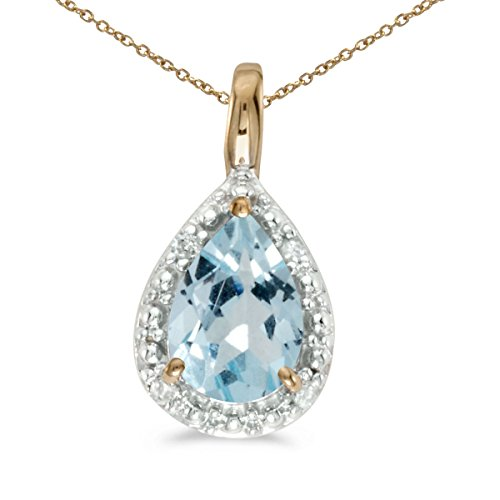 0.49 Ct Princess Shape - 0.49 Carat (ctw) 14k Yellow Gold Pear Aquamarine and Diamond Women's Solitaire with Halo Pendant with 18