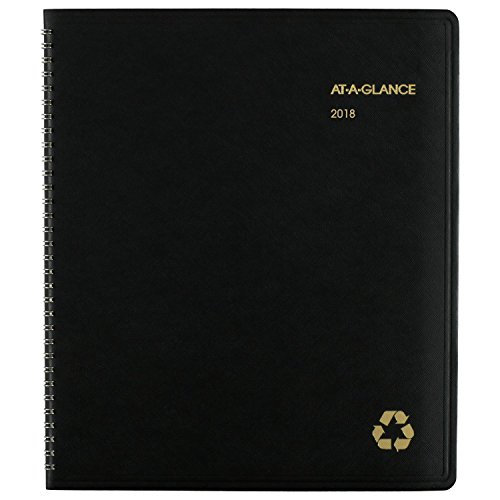 "AT-A-GLANCE 2018 Monthly Planner, Recycled, January 2018 - January 2019, 8-7/8"" x 11"", Black (70-260G-05)"