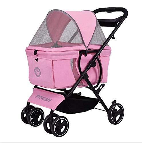 Pet Stroller Dog Cat Stroller 4-Wheel Stroller for Pet Travel Camping Folding Wear and Durable,Pink