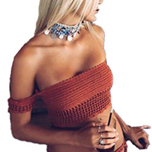 E-Papaya Womens Sexy Off Shoulder Knit Crochet Lace up Crop Bikini Top (Red) Crochet Bikini Top