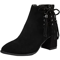 Arraysa Womens Abaay Pointed-Toe 6.3CM Zipper Boots Shoes, Black, 8.5 US