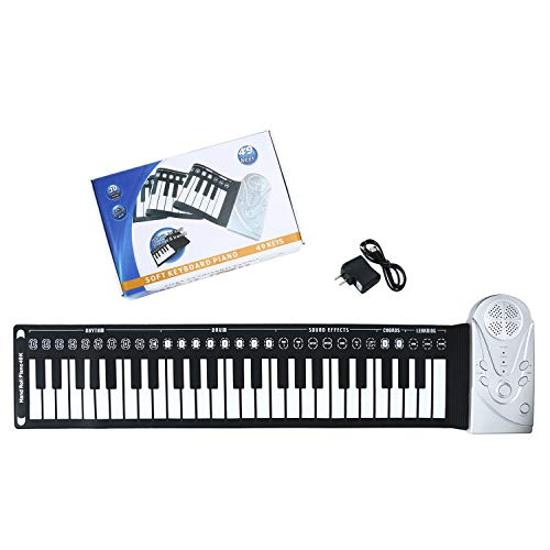 Homend 49 Key Roll Up Keyboard Piano Portable Soft Elastic Electronic Music Key Piano for Beginners Gift