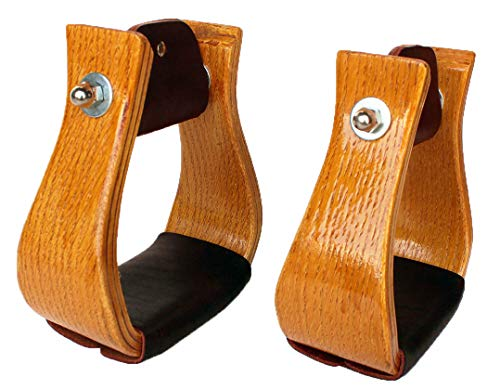 PRORIDER Western Show Horse Saddle Stirrups Wooden with Leather on Tread 5112