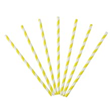 Ipalmay Biodegradable Drinking Paper Straws Assorted Striped Pack of 100, Yellow Paper Straw for Baby Shower, Weeding and Parties