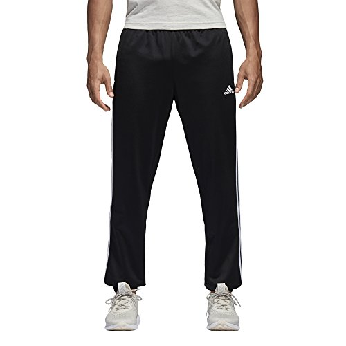 adidas S1754MCL220 Mens Athletics Essential Tricot 3 Stripe Tapered Pants, Black/White, Medium