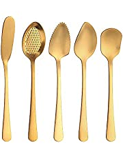 JOYJOO Flatware Set 5-Pieces, Serving Utensils Cheese Spreader, Dessert Spoon, Butter Knife Stainless Steel Yogurt Spoon for Cheese, Jelly, Jam, Ice Cream Gifts For Birthday, Thanksgiving Day, Gold