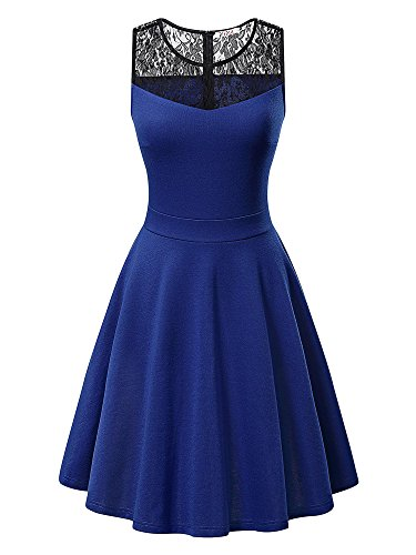 KIRA Women's Sleeveless A-Line Evening Party Lace Cocktail Dress (Small, Royal Blue With Black Floral Lace)