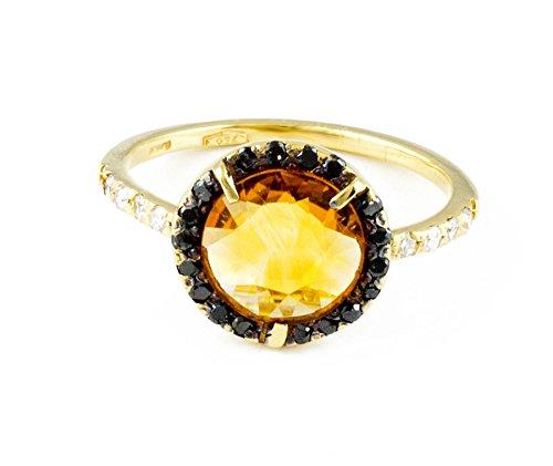 scarpe sportive 48020 fb2b1 Anello da donna con quarzo citrino e diamanti in oro 18Kt ...