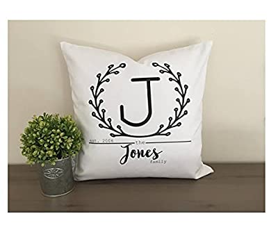 Laurel Wreath Personalized Family Pillow cover, Initial name pillow cover gift, neighbor gift,16x16 in home throw pillow cover, home decor