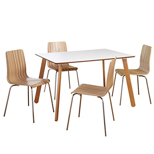 Target Marketing Systems Beatrice Collection Ultra Modern 5 Piece Kitchen/Dining Room Table and Chairs Set, With Splayed Legs, 1 Table and 4 Chairs, White/Natural Wood