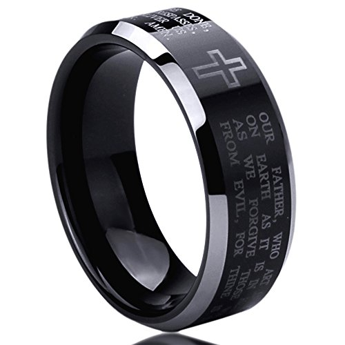 8MM Stainless Steel Wedding Band Ring Lord's Prayer Engraved Cross Praying Black Ring (6 to 14) SZ: 10.5 (Cross Stainless Steel Wedding Bands)