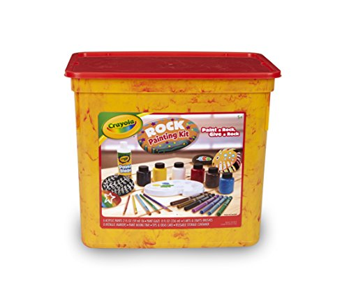 Resealable Tub - Crayola Rock Painting Art Kit for Kids Includes to Create Intricate Rock Art Projects: Paints, Metallic Markers, Brushes, Paint Mixing Tray & Finishing Glaze in a Resealable Tub