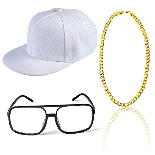Beelittle 80s 90s Rapper Hip Hop Costume Snapback Baseball Cap DJ Sunglasses Gold Plated Chain (H)