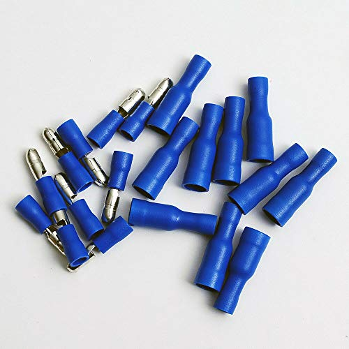 20 Vinyl Bullet Terminal Connector Blue 16-14 GA AWG Gauge 0.156'' Male Female