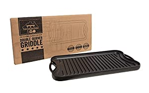 Fresh Australian Kitchen Large 20x10 Inch Pre-Seasoned Cast Iron Griddle. Reversible Flat Stove Top Double Burner Grill Pan Plate.
