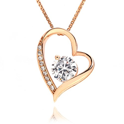 lapisia Swarovski Zirconia Open Heart Pendant Necklace for women Stering Silver with Gift Box Japan hot-selling … (Rose - Sale Tiffany Jewellery