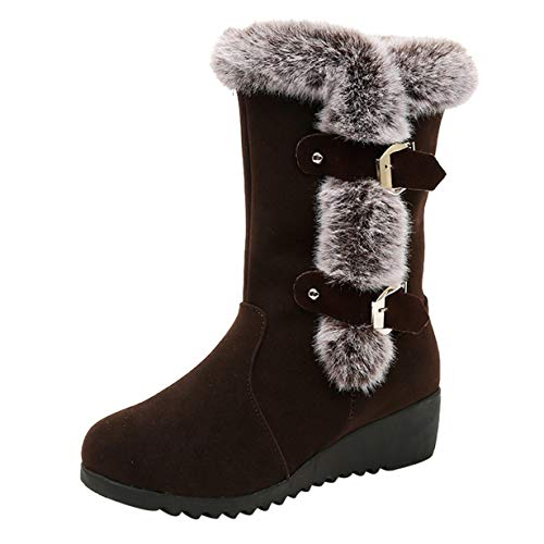 Londony ♥‿♥ Faux Fur Lined Snow Boots for Womens Flock Winter Button Pull On 816 Ankle Booties Shoes (Faux Sleeve Fur Boot)