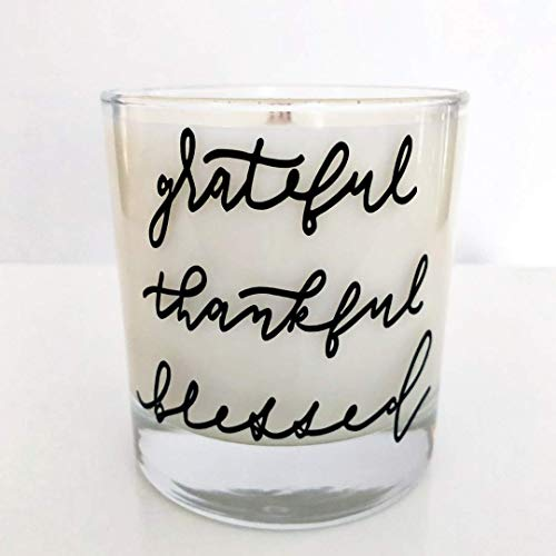 The Thread Candle Co. Grateful, Thankful, Blessed 8 oz. Scented Candle. Handcrafted with 100% Natural Coconut, Soy and Palm Wax in the USA. Makes Perfect Gift or Trendy Addition to Your Home Decor.