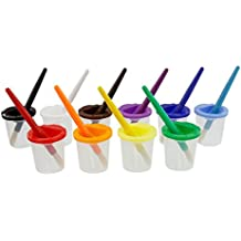U.S. Art Supply 10 Piece Children's No Spill Paint Cups with Colored Lids and 10 Piece Large Round Brush Set with Wood Handles