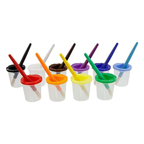 - U.S. Art Supply 10 Piece Children's No Spill Paint Cups with Colored Lids and 10 Piece Large Round Brush Set with Plastic Handles