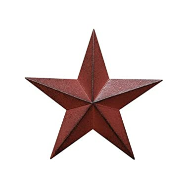 Home Collection Dimensional Steel Metal Barn Star, 12-inch, Distressed Burgundy Red Finish
