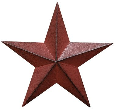 Dimensional Steel Metal Barn Star, 12-inch, Distressed Burgundy Red Finish
