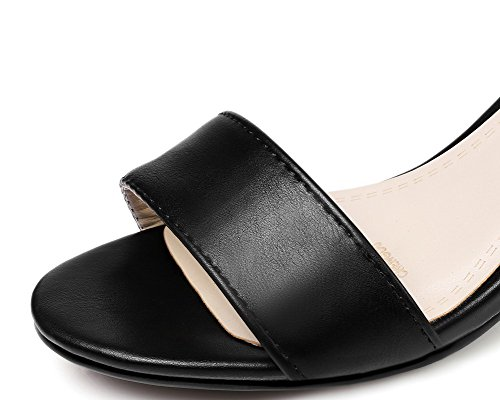 Women's Materials Kitten WeiPoot Blend Heels Open Buckle Toe Solid Black EGHLH006624 Sandals T0wxwqUd