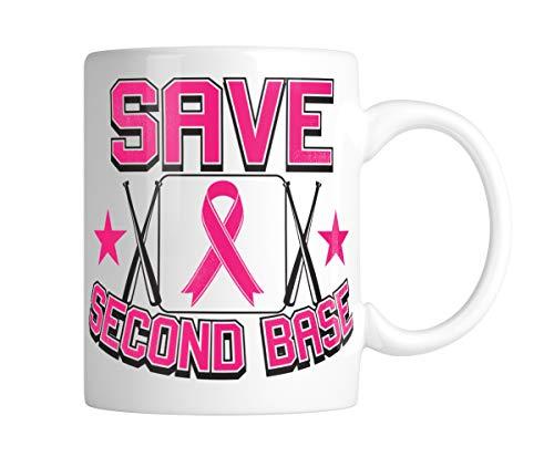 Swift Pigeon Save Second Base Breast Cancer Softball Baseball Bat 11oz White Coffee Mug (1 Mug) (Swift Softball Baseball)