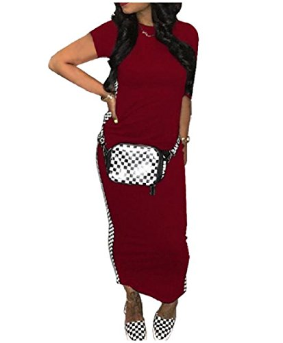 Length Short Knee Sleeve Patchwork Dress Coolred Bodycon Red Wine Maxi Long Women xTwX54qp1