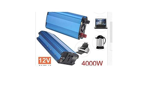 color: azul 4000W Car Power Inverter Charger DC 12V 24V a AC 220V Convertidor de onda sinusoidal Interfaces Adaptador de transformador de voltaje y