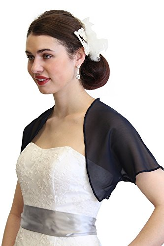 Jackets Bolero Bridal (Chiffon Bolero Jacket With Short Sleeve L-Navy Blue)