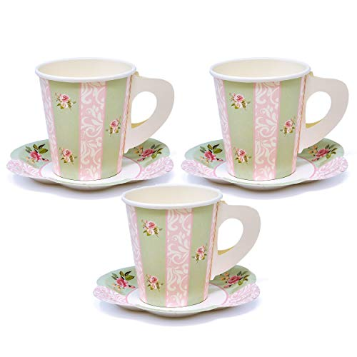 """24 Disposable Tea Party Cups 5 oz 3"""" 24 Saucers 5"""" Paper Floral Shaped Plate Teacup Set with Handles for Kids Girls Mom Coffee Mugs Wedding Birthday Bridal Baby Shower Mint Green Pink Table Supplies"""