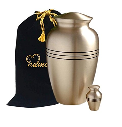 MEMORIALS 4U Classic Gold Cremation Urn Set for Human Ashes - Classic Bronze Urn With Stripes Brass Urn - Handcrafted Affordable Funeral Urn for Ashes - Free Keepsake and Urn Bag