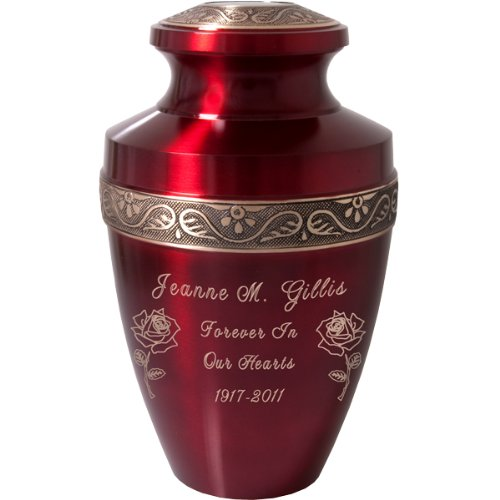 Memorial Gallery Custom Engravable Scarlet Brass Cremation Urn (11