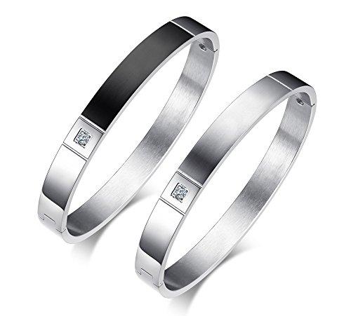 Domika Stainless Steel Cubic Zirconia Hinged Bangle Bracelet for Men Women ()