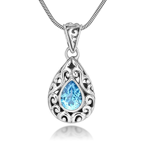 Sterling Silver Filigree Blue Topaz Gemstone Teardrop Pendant Necklace w/ 18