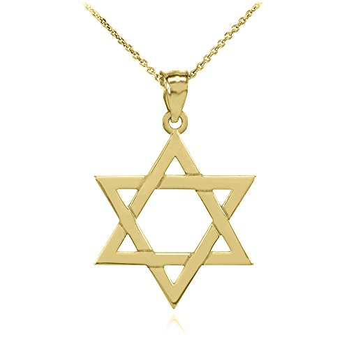 Jewish Gold Pendants - Solid 14k Yellow Gold Traditional Jewish Star of David Charm Pendant Necklace (Small), 20