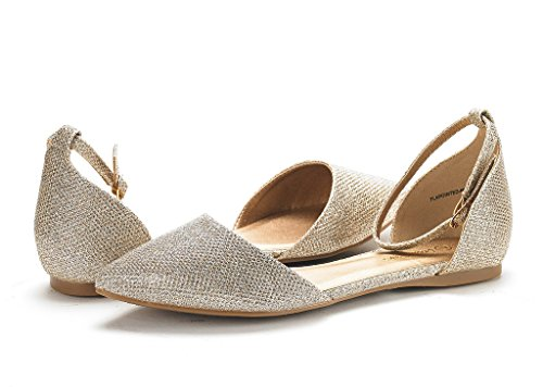 DREAM PAIRS Womens FLAPOINTED-New DOrsay Ballet Flats Shoes Gold Glitter Oadrm8xjFM