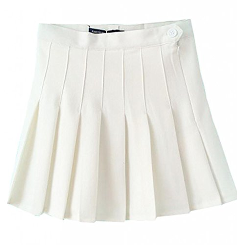 MIXMAX Women High Waist Pleated Mini Tennis Skirt (Large, White)